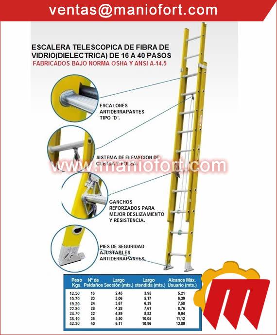 Escalera Telescópica Fibra de Vidrio