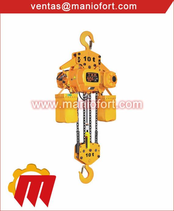 Tecle electrico con gancho de suspension de 10 ton