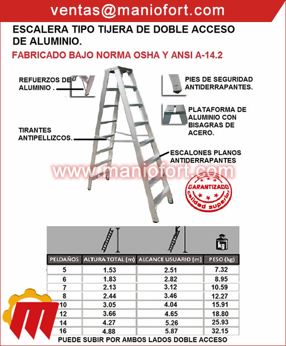 Escalera de aluminio tipo tijera de doble acceso.