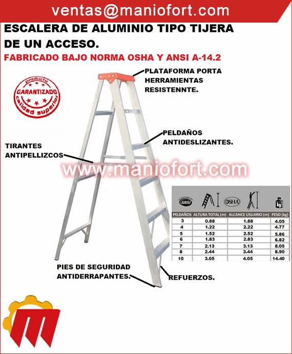 Escalera de aluminio tipo tijera de un acceso.