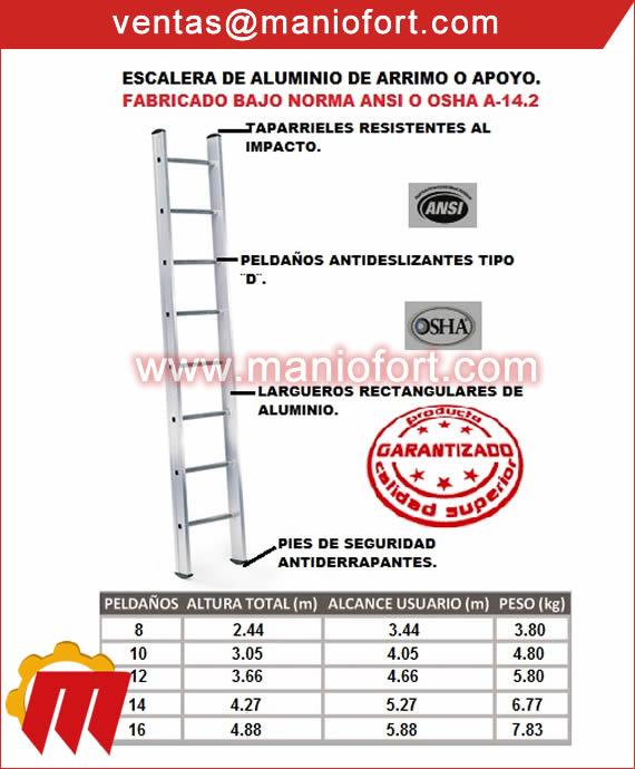 Escalera de aluminio de arrimo o apoyo.